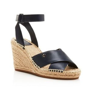 Tory Burch Navy Leather Espadrille Wedges (sz 9.5)